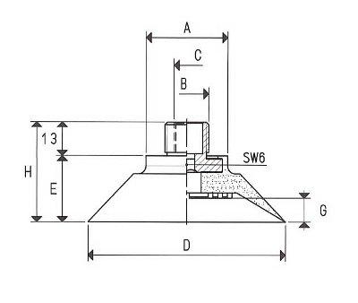 Flachsauger mit vulkanisierter Halterung+begradigter Rand