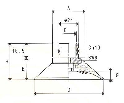Flachsauger mit vulkanisierter Halterung+innere Berippung